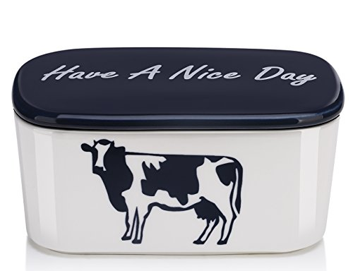 DOWAN Porcelain Butter Dish with Easy Clean Lid, Large Butter Keeper and Deep Container, Cow Pattern, White & Blue