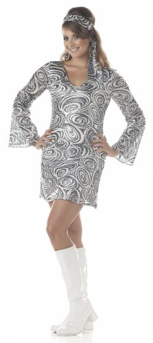 California Costumes Women's Disco Diva, Silver, 2XL (18-20) Costume - 60s Diva Costumes