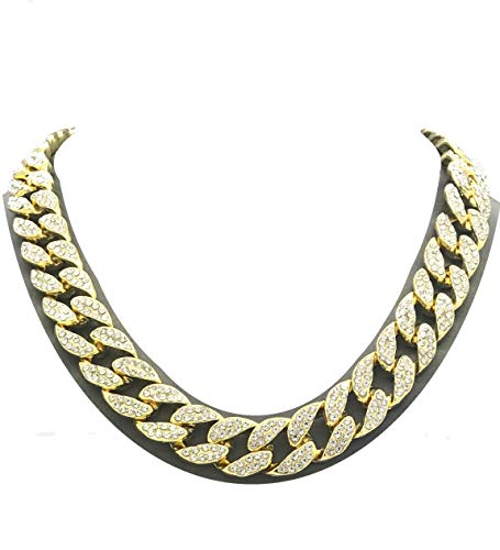 Pyramid Jewelers Mens Iced Out Hip Hop Gold Tone CZ Miami Cuban Link Chain Choker Necklace (17