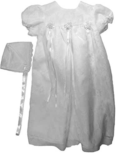 The Children's Hour Baby Girls White Fully Lined Lace Gown & Bonnett, 3m - 24m