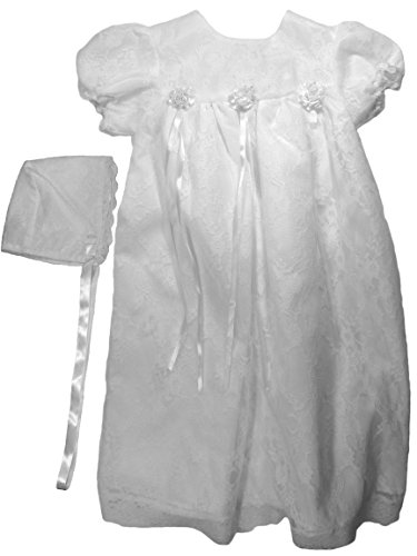 The Children's Hour Unisex Baby White Fully Lined Lace Gown & Bonnett, Size 06m