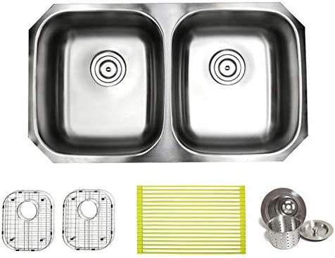 32 Inch Premium 16 Gauge Stainless Steel Undermount 50 50 Double Bowl Kitchen Sink with FREE ACCESSORIES