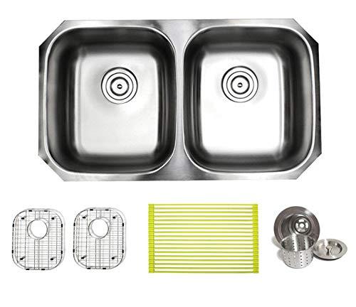 (32 Inch Premium 16 Gauge Stainless Steel Undermount 50/50 Double Bowl Kitchen Sink with FREE ACCESSORIES)