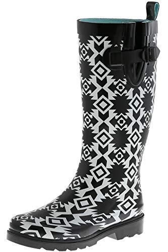 (Capelli New York Ladies Terra Diamonds Printed Tall Rain Boots Black Combo 10)