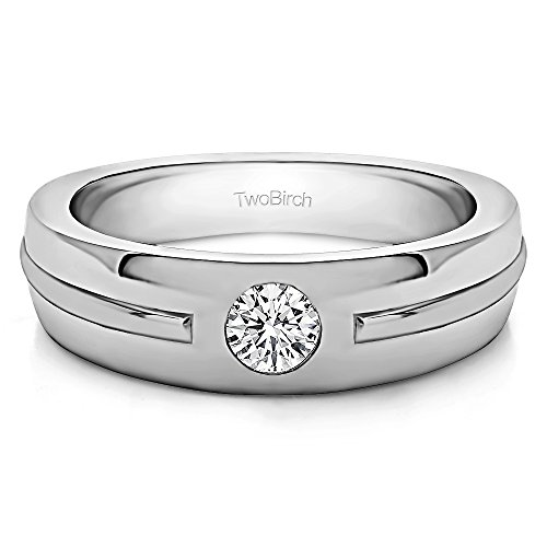 - 14k White Gold Gent's Ring White Sapphire(0.33Ct) Size 3 To 15 in 1/4 Size Intervals