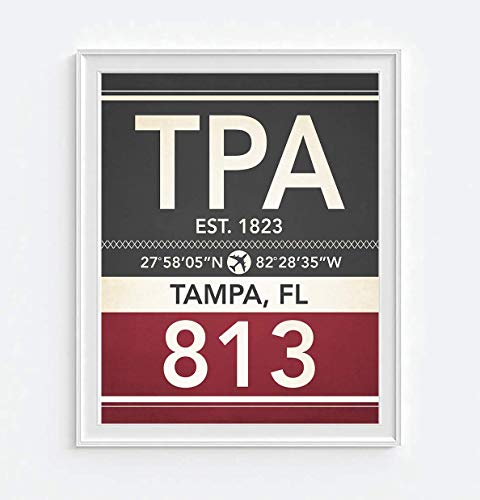 (Tampa Florida TPA 813 Vintage Airport Area Code Map Coordinates Subway Art Print, Unframed, Christmas Father's Day Housewarming Gift Home Decor Poster, 8x10)