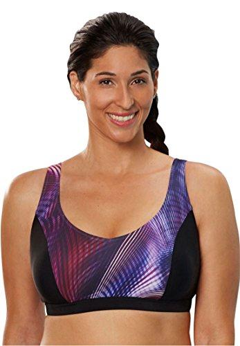 Women's Plus Size Triple Close Swim Bra By Aquabelle Pink Spirograph,12