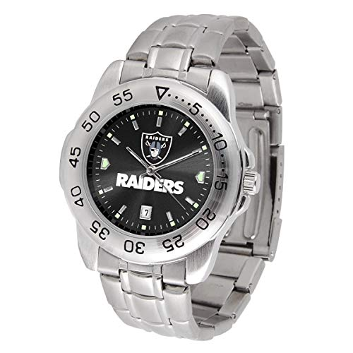 Game Time NFL Oakland Raiders Mens Sport SteelWrist Watch, Team Color, One Size