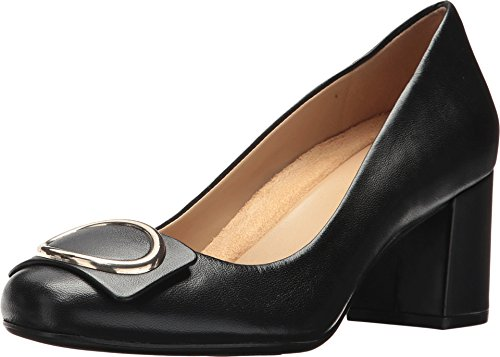 Naturalizer Womens Wright Leather Closed Toe Classic, Black Leather, Size - Dorsay Pump Heel Metal