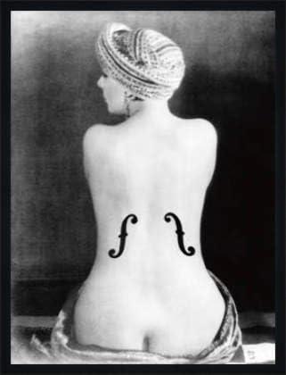 """Manifesto: Man Ray """"il violino d ´ Ingres, 1924"""", 60 x 80 cm, Avec cadre Bois Fortuna L Noir mate de soie, 60 x 80"""