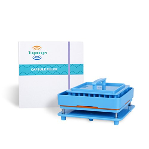 Capsule Holder Plate,Tuyounger Capsule Filler Machine Tray,Manual Powder Filling Machine for Size 00 - 100 Holes with Powder Block&Tamper (Blue)