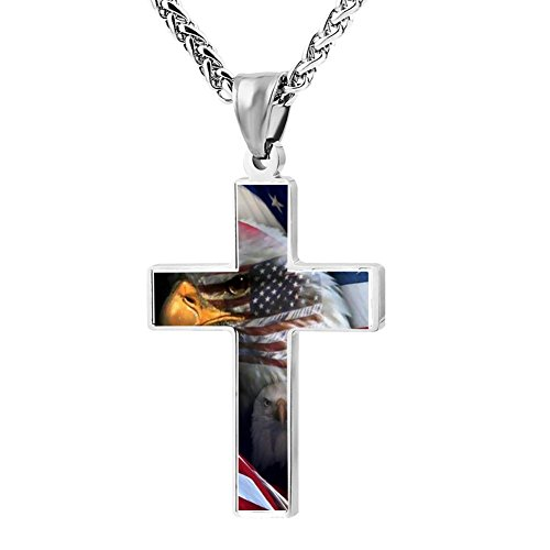 Price comparison product image GHFDD1DF6 American Flag Eagle DIY Jewelry Zinc Alloy Cross Pendant Necklace for Men Women with Necklace, 24 Inch