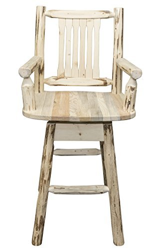 Montana Woodworks MWBSWSCASV Montana Collection Captain's Barstool with Back & Swivel, Clear Lacquer Finish