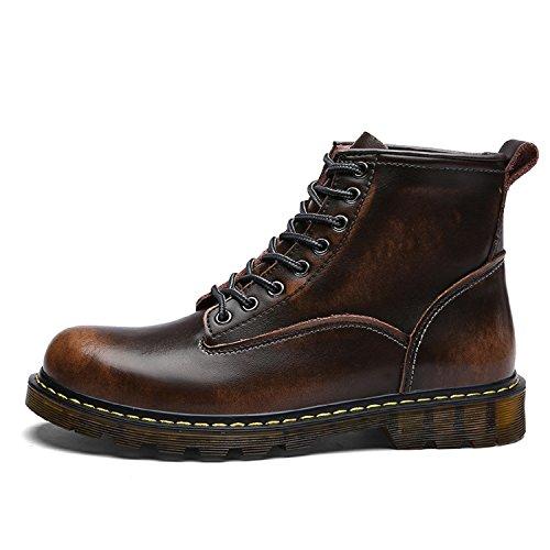 tqgold Unisex Herren Damen Leder Stiefel Warm Gefütterte Kurzschaft Boots Schneestiefel Smooth Stiefeletten für Herbst-Winter B-Braun