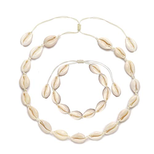 HSWE Shell Choker Necklace for Women Seashell Necklace Adjustable Puka Shell Necklace Bracelets Set Hawaiian Jewelry (Shell Necklace anklets Set#2)