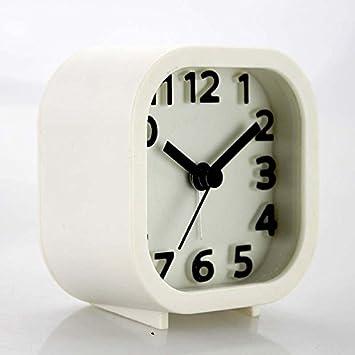 ZHUNSHI Reloj Despertador Cuadrado Color Caramelo Tranquila Reloj Digital Tridimensional, Blanco: Amazon.es: Hogar