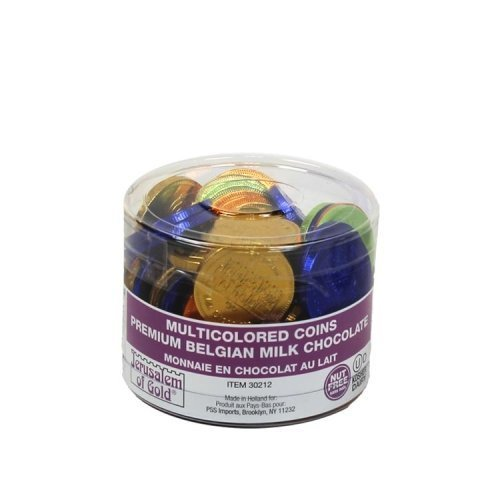 70 In a Tub Nut Free Jerusalem of Gold Milk Multicolored Foil Wrap Hanukkah Chocolate Gelt Coins by Jerusalem of Gold