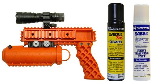 The Defender KIT NON-LETHAL Safety Orange Pepper Spray Gun by Pro-Defense
