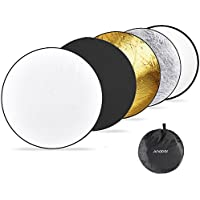 Andoer 43 110CM 5 in 1 Reflector (Translucent, Silver, Gold, White, and Black) Pro Premium Grade Collapsible Disc Soft Round Portable Collapsible Multi Disc Light Photographic Lighting Reflector for Studio or any Photography Situation