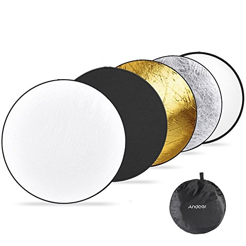 Andoer 43'' 110CM 5 in 1 Reflector (Translucent, Silver, Gold, White, and Black) Pro Premium Grade Collapsible Disc Soft Round Portable Collapsible Multi Disc Light Photographic Lighting Reflector for Studio or any Photography Situation by Andoer
