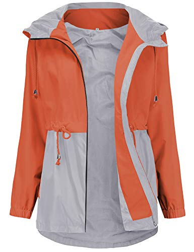 Romanstii Casual Raincoats Women Lightweight Travel Trench Waterproof Spring Jackets Outdoor Cycling Softshell Breathable Orange XL