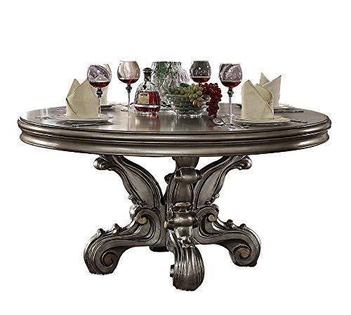 ACME Versailles Dining Table (Round Pedestal), Antique Platinum (1Set/2Ctn) Vintage/Traditional/Antique Platinum/ (Round Tables Traditional Dining)