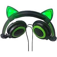 STARmoon Auriculares Plegables con diseño de Orejas de Gato con LED Intermitente para Juegos, Verde