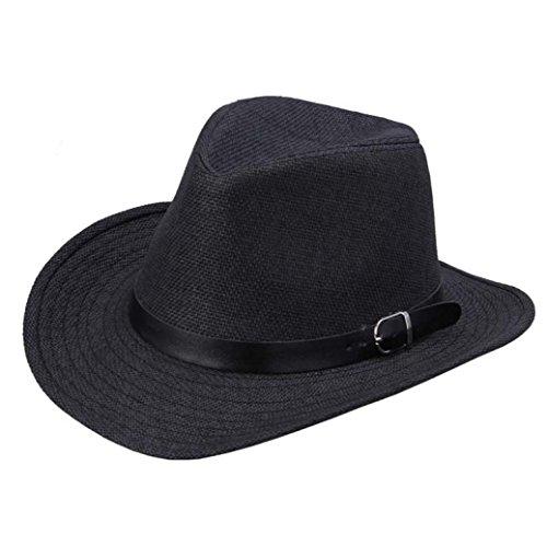 Gorgii Summer Men Straw Brown Felt Studded Cowboy Hat (A)