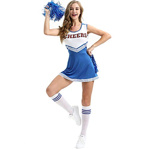 Sexy School Girls Musical Party Halloween Cheer Leader Costume Fancy Dress Costume Complete Outfit with 1 Pair Sports Pompoms ()