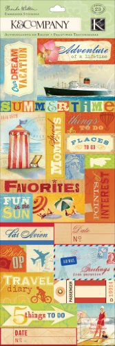(K&Company Brenda Walton Around the World Labels and Words Embossed Stickers)