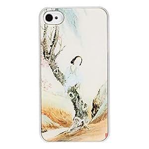 MOFY- Antigua Belleza bajo el patr—n de la caja dura de epoxy ‡rbol con marco de plata para el iPhone 4/4S