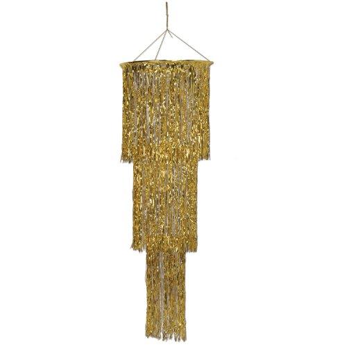 Beistle 1-Pack 3-Tier Shimmering Chandelier, 4-Feet, Gold -