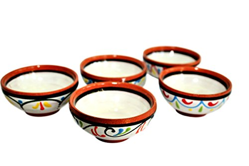 Cactus Canyon Ceramics Terracotta White, Super Small Mini-Bowl Set of 5 (Pinch Bowls) - Hand Painted from Spain