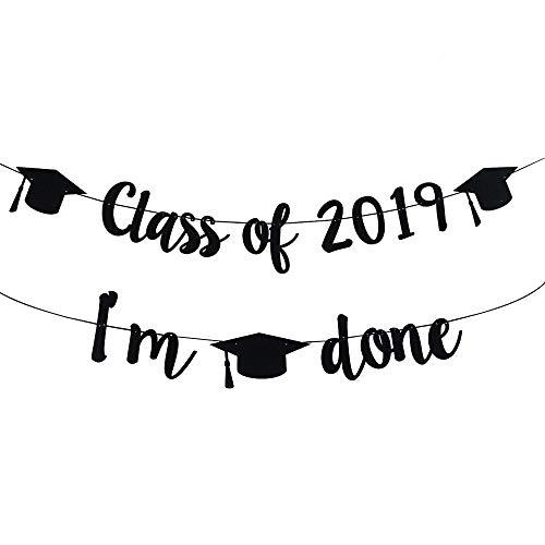 TMYSP 2019 Congrats Signs Graduation Party Decorations Class 2019, IM Done Banner Sign Congratulations Bunting Garland 2019 Graduation Party Decoration