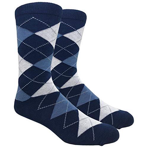 (Fine Fit Black Label Men's Dress Socks (Argyle - Navy &)