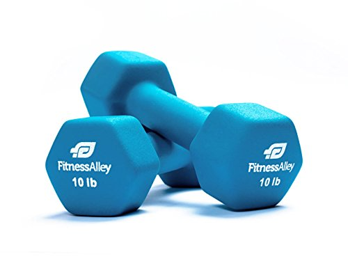 Fitness Alley Neoprene Dumbbell Pair Free Weights - Hex Hand Weights - Gym Exercise 3 Pairs Set (8, 10, 12lb pairs)