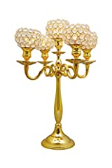 Gold Crystal Globe 5 Arm Candelabras Wedding Centerpieces Votive Candle Holders