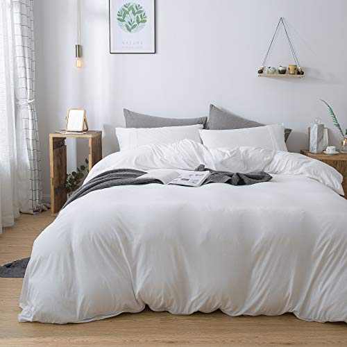 (Household 100% Cotton Jersey Knit Duvet Cover Comfortable, Super Soft Includes 2 Pillowcase (White King)