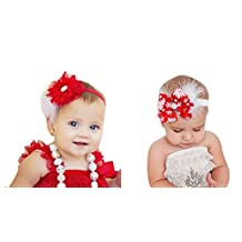 2 Packs Baby Headbands Hair Bows Toddler Girls Feather Hair Bands