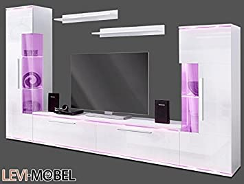 Amazon De Generic Wohnwand 5 Tlg Wohnzimmer Vitrine Lowboard Regal
