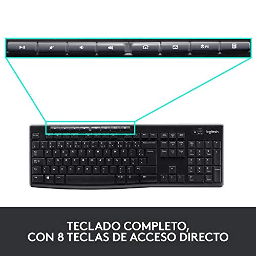 Logitech MK270 - Pack de teclado y ratón (2.4 GHz, inalámbrico, Windows), Negro, - [QWERTY Español]