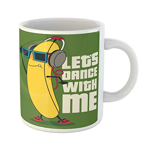 Semtomn Funny Coffee Mug Yellow Monster Dance and Cartoon Banana Character Funny Music 11 Oz Ceramic Coffee Mugs Tea Cup Best Gift Or Souvenir -