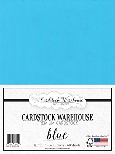 - Blue Cardstock Paper - 8.5 x 11 inch - 65 lb. - 50 Sheets Premium Cover from Cardstock Warehouse