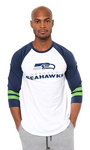 NFL Seattle Seahawks Men's Raglan Team Logo Long Sleeve T-Shirt, White , Large