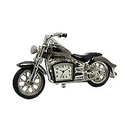 Sanis Enterprises Gun Metal Motorcycle Desk Clock, 3H x 3.75L x 1.5 W