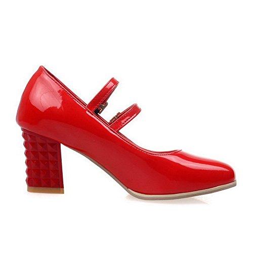 AllhqFashion Damen Rein PU Leder Mittler Absatz Quadratisch Zehe Schnalle Pumps Schuhe Rot