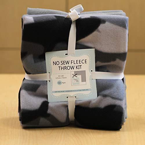 Deep Sea Sharks No-Sew Throw Fleece Fabric Kit (50x60) (Sew No Kit Fleece Throw)