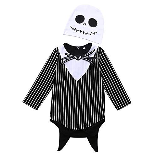 Halloween Unusual Costumes (Newborn Baby Boy Girl Halloween Cosplay Costume Party Nightmare Bat Striped Romper Hat Outfits Set (Gray, 6-12)
