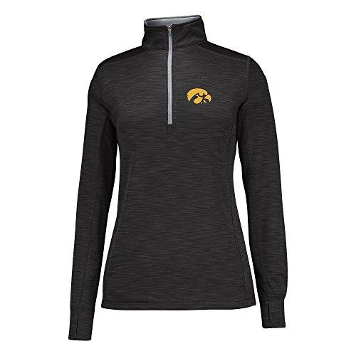NCAA Iowa Hawkeyes Women's Courtside Poly Fleece 1/2 Zip Sweater, Large, (Iowa Womens Hoody Zip Sweatshirt)
