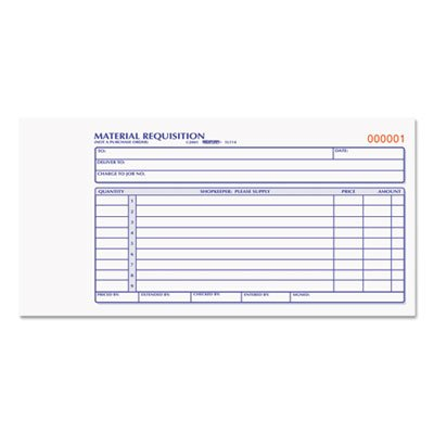 Material Requisition Book, 4 1/4 x 7 7/8, Two-Part Carbonless, 50-Set Book, Sold as 2 Each